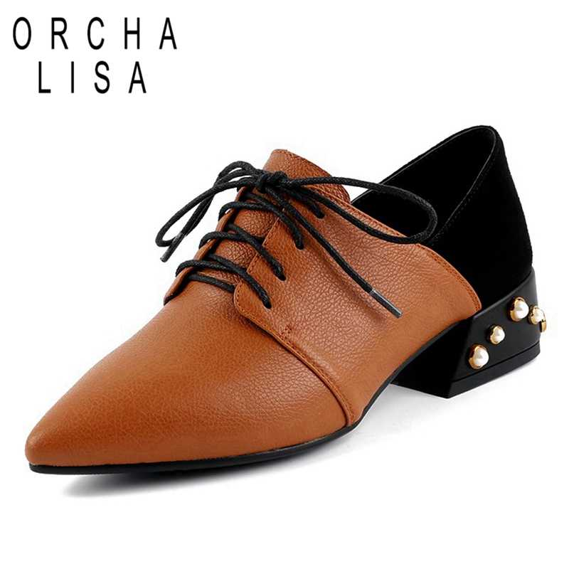 ORCHA LISA/Женская обувь из натуральной коровьей кожи с острым носком на шнуровке