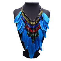 And American Alloy Necklace Short Feather Tassel Female Clavicle Long Summer Beads Bohemia Wind Accessories