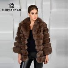 Фотография FURSARCAR 2017  Winter Women Natural  Fox Fur Whole Skin Genuine Leather Female Jacket Thick Sable Real Fox Fur Short  Fur Coat