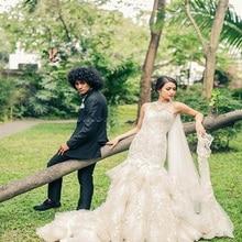 TPSAADE Luxury Mermaid Wedding Dresses Sheer Court Train