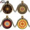 Caxybb Hot Buddhist Sri Yantra Jewelery Pendant Sacred Geometry Necklace glass Jewelry Mandala Buddhist Necklace Women Jewelry