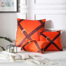 Home DecorativeModern printed leather buckle pillow sofa office cushion cover Cushion Cover Pillow Case