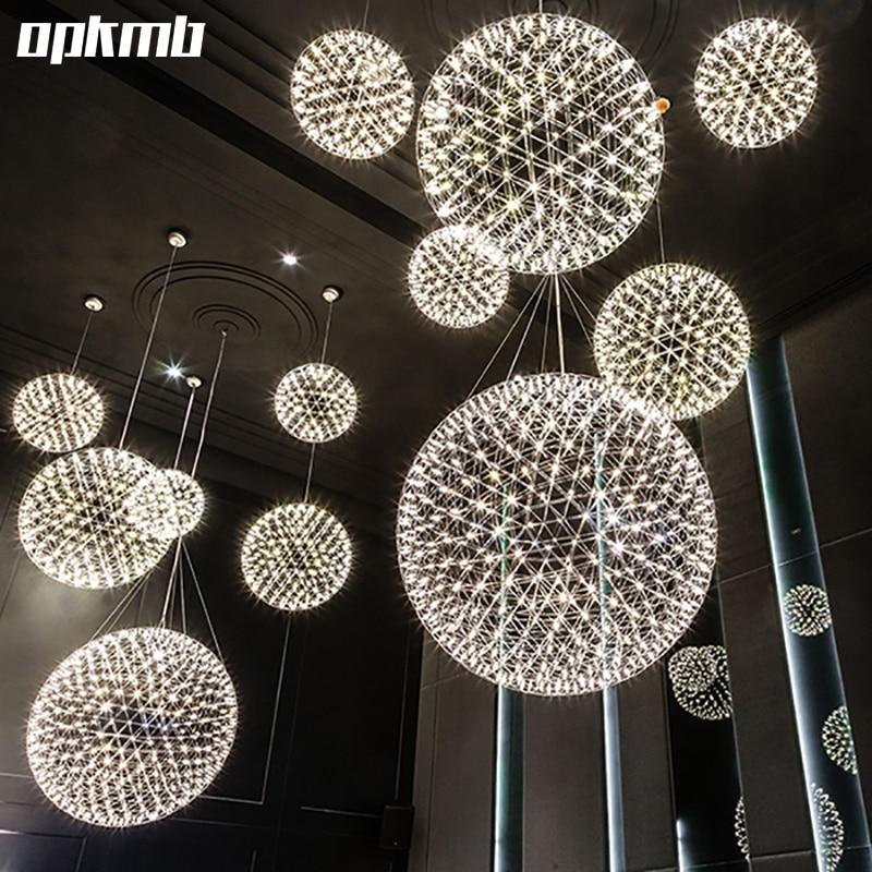 stainless steel firework pendant  light  modern  pendant  lighting  villa hotel project lighting