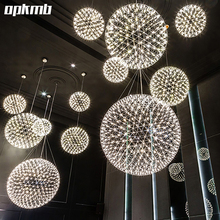 modern living room pendant light  stainless steel  ball  led firework light  restaurant  villa hotel project lighting