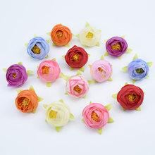 5CM Cheap silk roses tea buds artificial plants for New Year Christmas vases for decorations home decor wedding fake flowers(China)