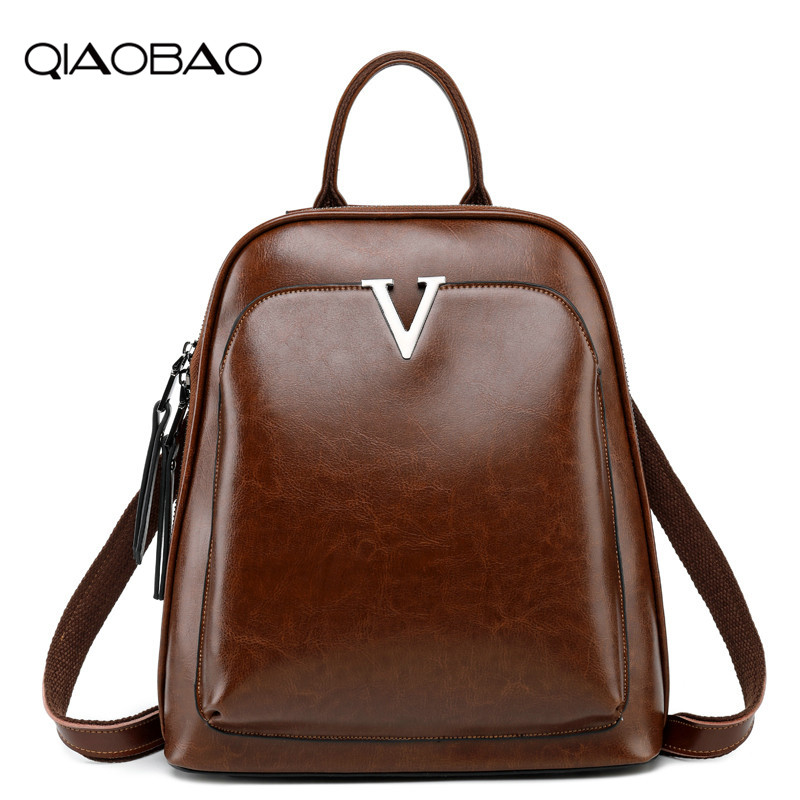 QIAOBAO Genuine Leather Backpack Fashion Backpacks For Teenage Girls School Bags Newest Vintage Cowhide Shoulder Bag qiaobao qiaobao japan and korean style genuine leather women backpack vintage school backpack for girls brand designer bags best