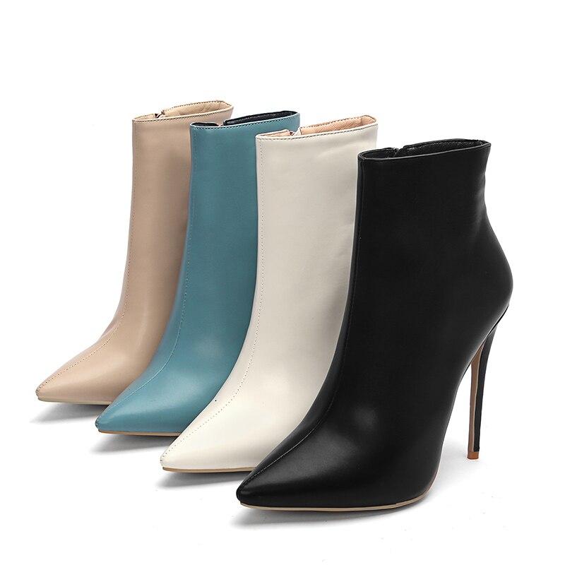 Новинка 2018, женские ботильоны, обувь на высоком каблуке, женская обувь на молнии с острым носком, пикантные женские теплые ботинки, зимняя об