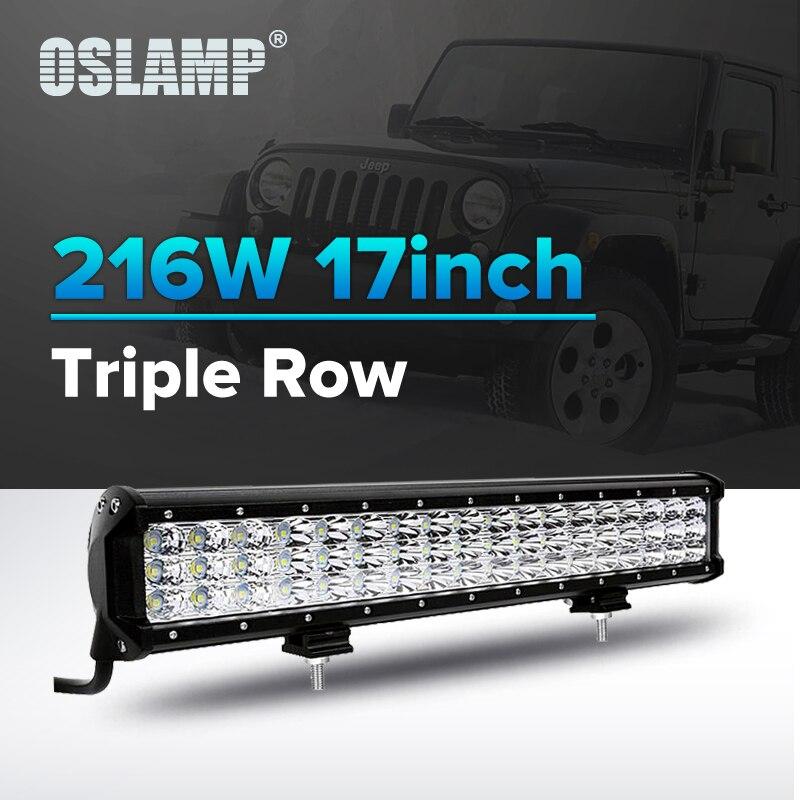 Oslamp 17 216 W 3-ряд Offroad светодио дный световой луч бар комбо дальнего 12 v 24 v светодио дный Подсветка Грузовик внедорожник ATV 4WD 4x4 автомобиля свето...