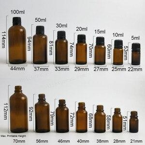 Image 2 - 200 x 100ML 50ML 30ML 20ML 10ML 5ML l Empty Small Amber Boston Round Glass Essential Bottle  White Black Tamper Evident Cap