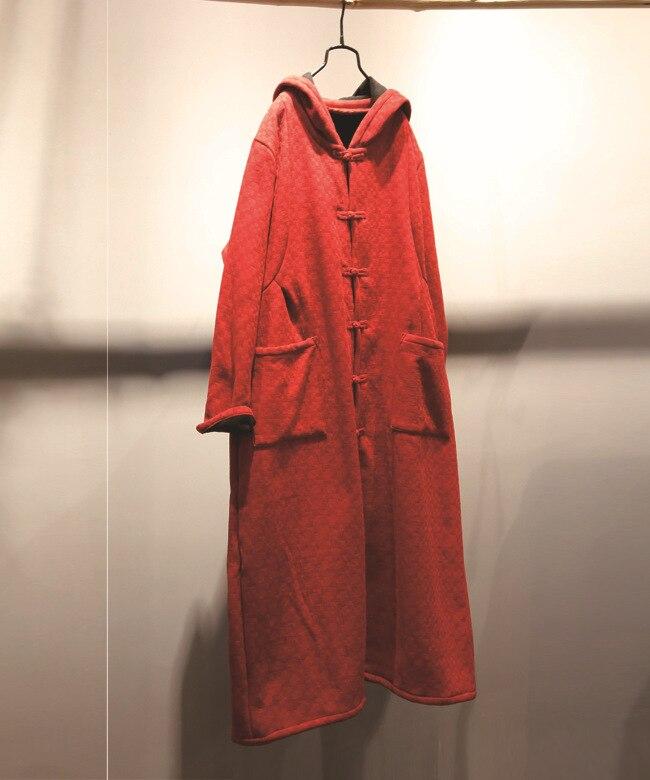 Long Coton Longue rouge Automne Lin Chaud N326 vent Velours Au Robe Robes Coupe Rétro Bleu 2018 En D'hiver Sorcière Et Manteau Capuchon Lâche Garder À USzxd0nq