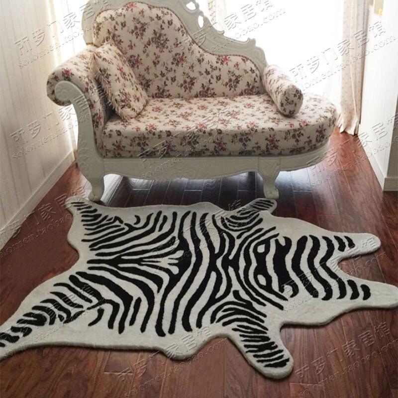 US $89.1 10% OFF|Mode Schwarz Und Weiß Streifen Teppich Tiger muster  teppich Schlafzimmer Wohnzimmer Sofa Teppich Nach Acryl Matten-in Teppich  aus ...