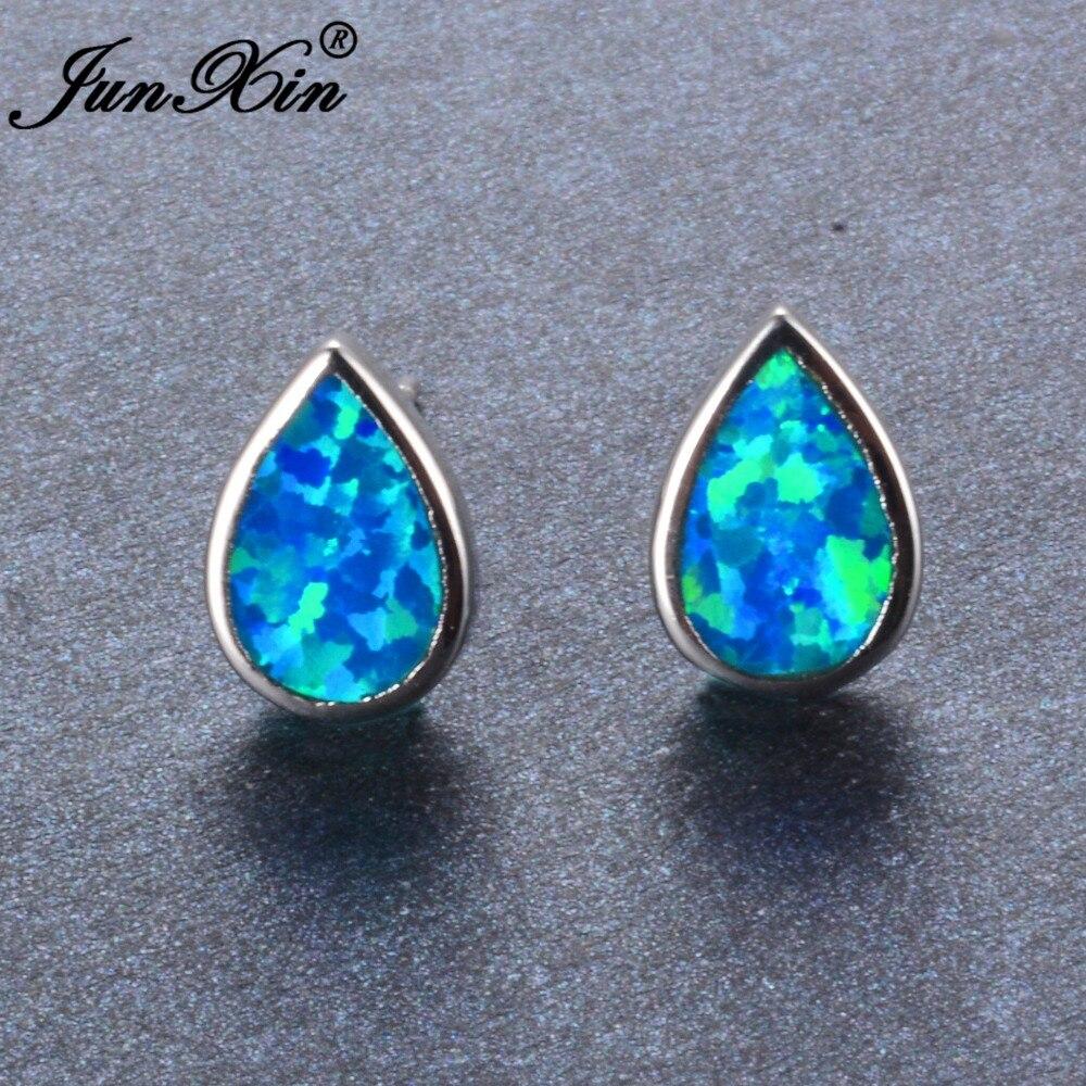 JUNXIN Water Drop Design Blue Fire Opal Earring Female Stud Earrings Silver Color Double Sided Earrings For Women(China)
