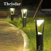 Thrisdar Outdoor Stand Pole Column LED Lawn Light Aluminum Garden Lawn Bollards Light Waterproof Courtyard Park Landscape Light