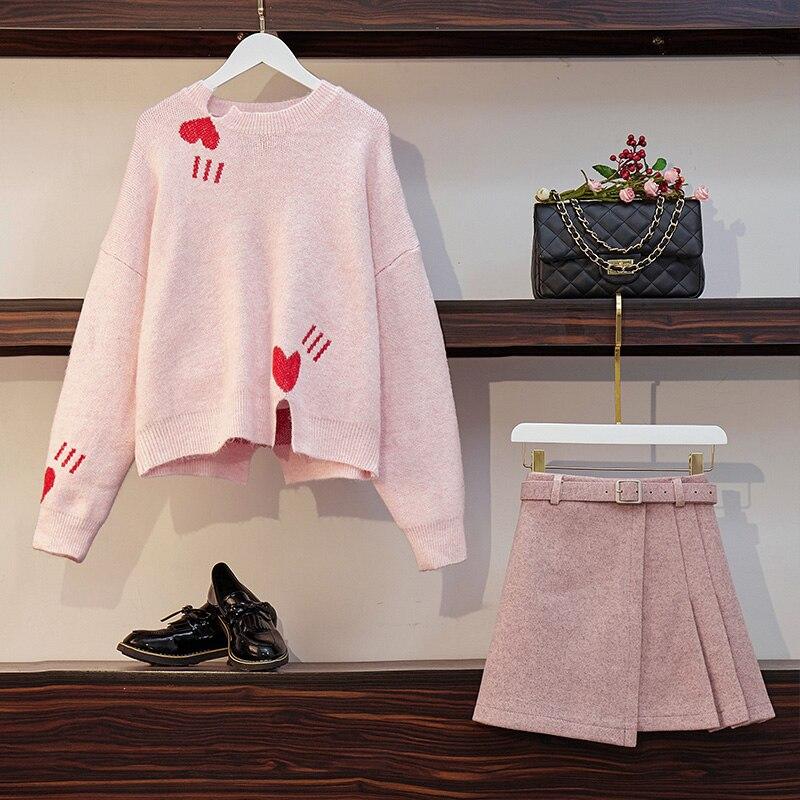 Kawaii Preppy Style  Knitting Heart Sweater & Wool A-line Mini Skirt 1
