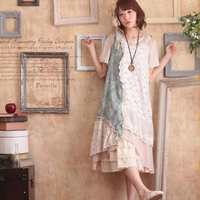 Harajuku Mori Girl Dress Women Cotton Lace Multi Layer Patchwork Cute Sleeveless Floral Female Kawaii Sweet Vest Tank Dress A028