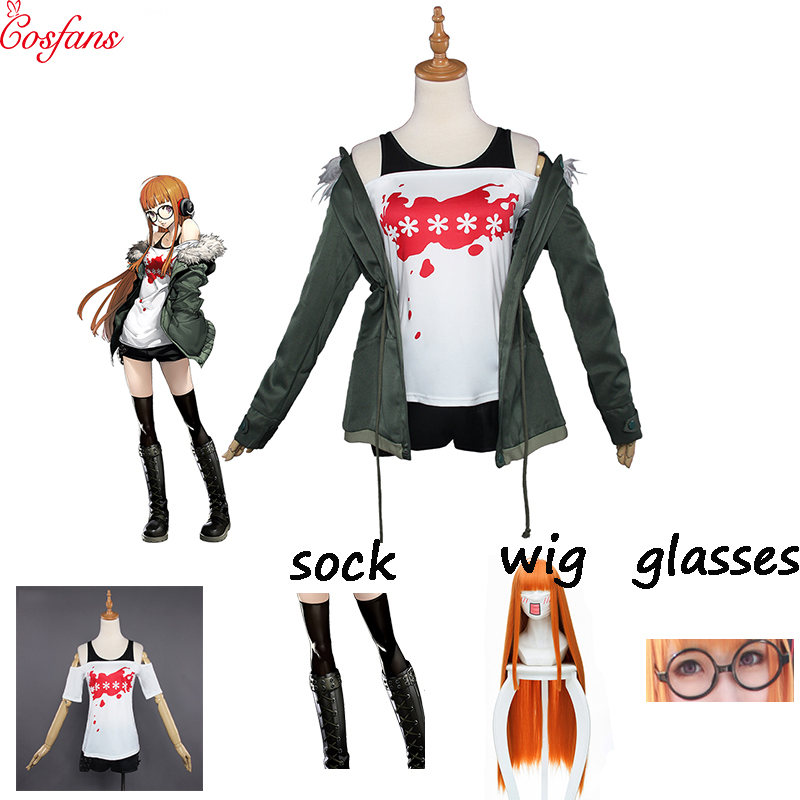 2019 New Futaba Sakura Cosplay Game Persona 5 Costume Futaba Sakura Navi Persona 5 Cosplay Costume Women Halloween Cosplay set