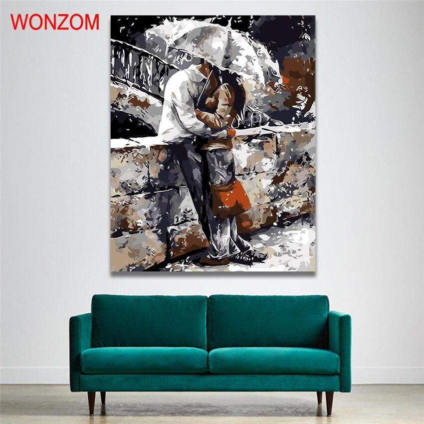 WONZOM Lieverd Foto Schilderen Nummers Op Canvas DIY Handgeschilderd - Huisdecoratie
