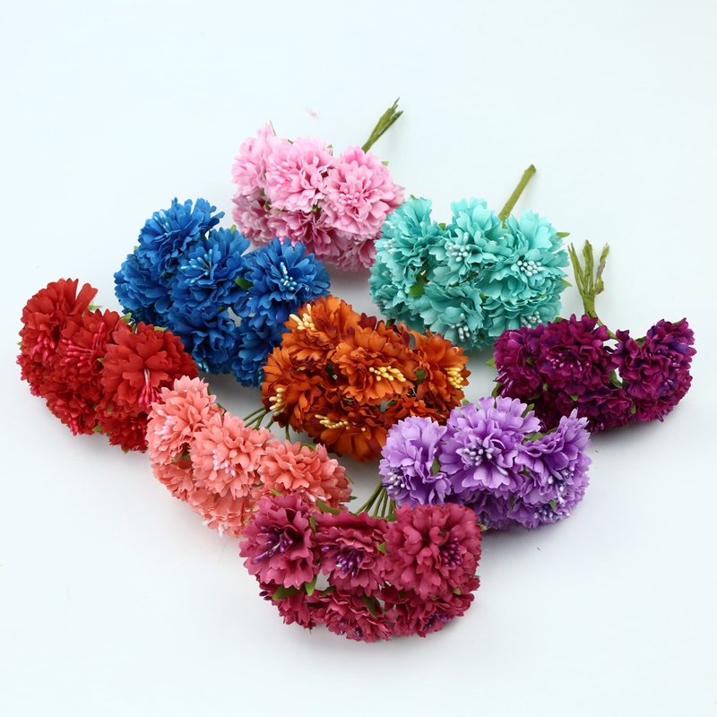 6 Pieces Silk Carnation flowers for scrapbooking artificial plants decorative flowers wreaths diy gifts box christmas home decor