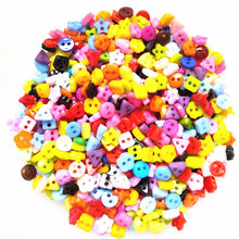 100PCS 6mm Plastic Heart Round Star Flower Square Mixed Mini Buttons Sewing 2 Holes Tiny Doll Clothes Button For Scrapbooking(China)