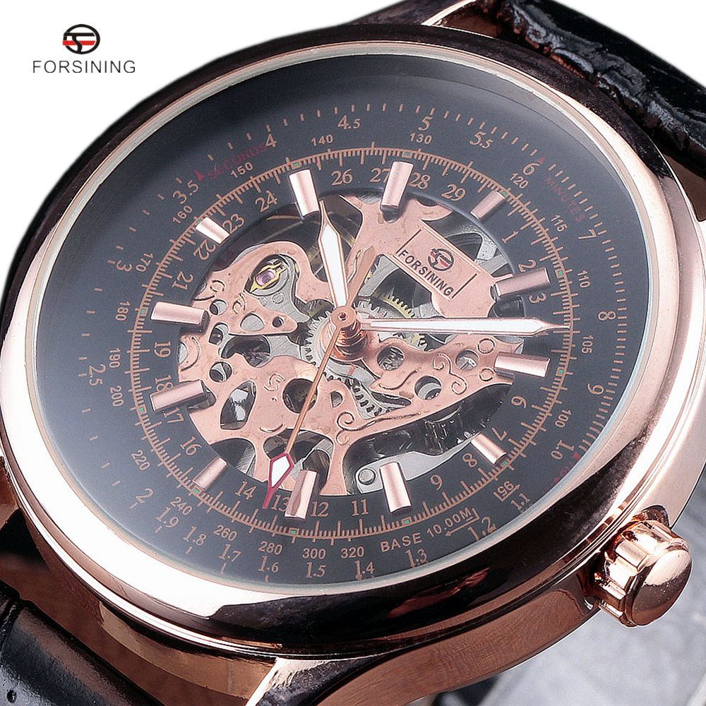 2018 FORSINING Men's Fashion Design Black Rose Gold Military Watch Hand Wind Mechanical Watches Leather Band Male Skeleton Clock royal carving ks rose gold skeleton automatic self wind wristwatch male fashion clock leather strap mechanical watch gift ks294
