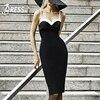 INDRESSME Elegant Strapless Knee Length Women Evening Party Bandage Dress Sexy Spaghetti Strap Backless Women Dress