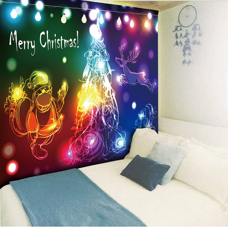 Merry Christmas Tapestry Telas Decorativas para pared Cool Lights Christmas Trees Wall Hanging Carpet Paintings Hippy Home Decor in Tapestry from Home Garden