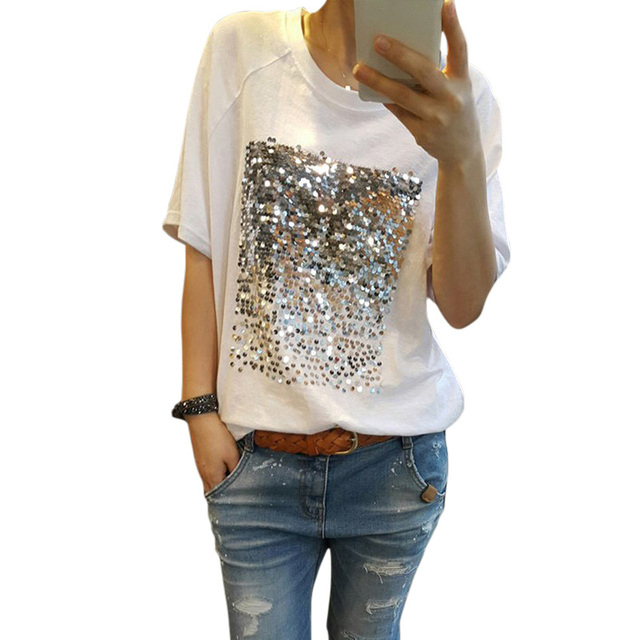 9b927fe2c8cc Chic Silver Glitter Women Sequined T Shirt Short Sleeve Solid O neck Bling T  Shirt 2018 Spring Korean White Black Tops Female-in T-Shirts from Women s  ...
