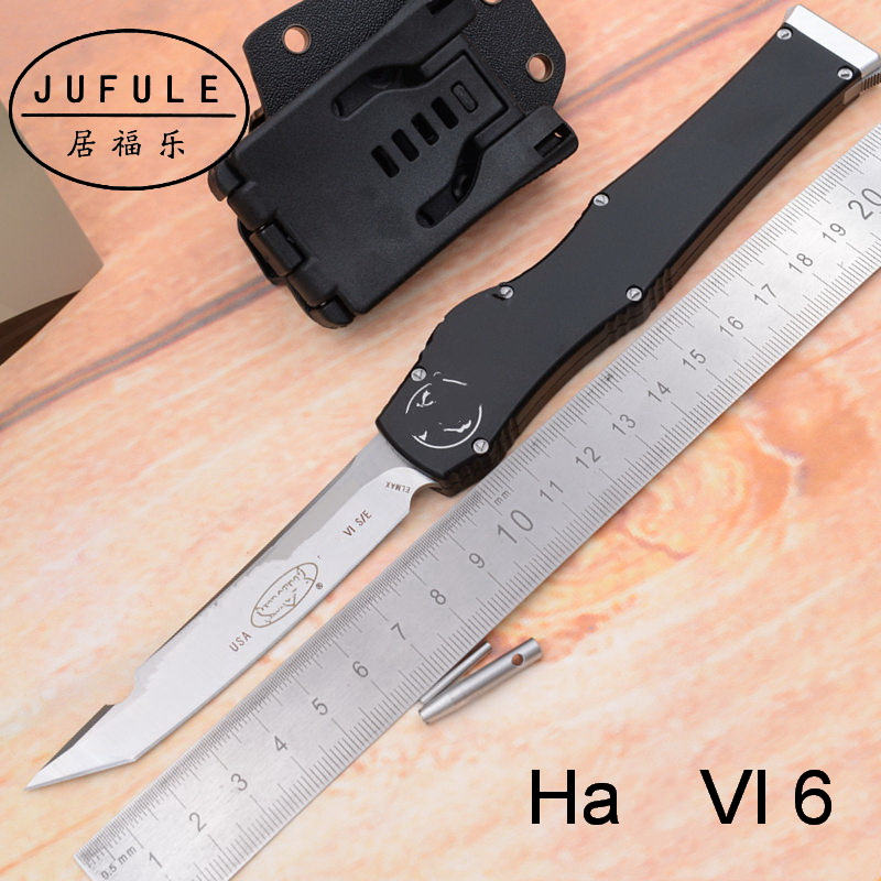 Good Price H V 5 VI 6 D2 mark Elmax blade aluminum handle camping hunting survival outdoor Utility EDC tool fruit kitchen knife(China)