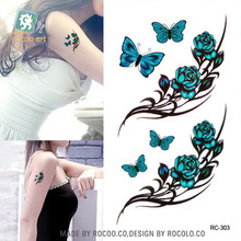 Top Fashion Men Korean Color Small Fresh Butterfly Rose Tattoo Stickers Rc2303 Waterproof