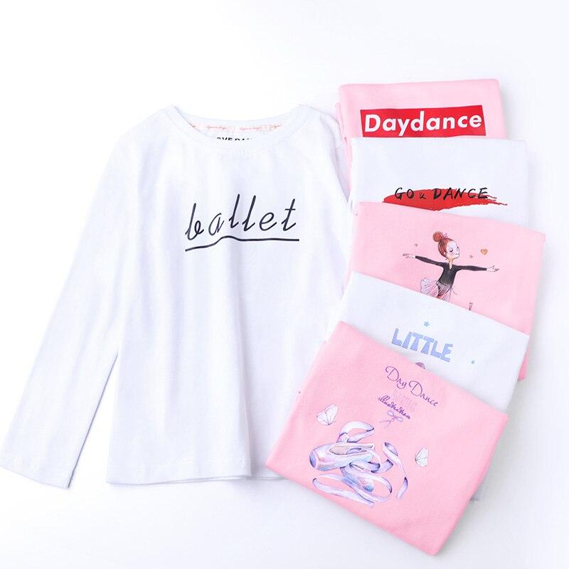 Cotton Ballet T-shirt Girls Dance Tops Ballerina Practice Costume Long Sleeve O-neck Kids Print Dance Wear White Pink T-shirt