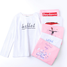 Cotton Ballet T-shirt Girls Dance Tops Ballerina Practice Costume Long Sleeve O-neck Kids Print Wear White Pink