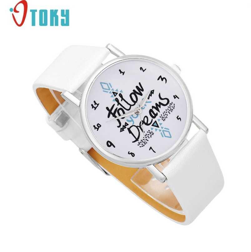 Luxus Mode Vogue Frauen Folgen Träume Worte Muster Leder Uhr Weiß neuartige design Relogios geschenk
