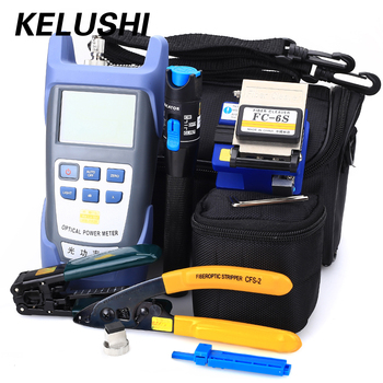 KELUSHI Fiber Optic FTTH Tool Kit with FC-6S Fiber Cleaver and Optical Power Meter 5km Visual Fault Locator 1mw Wire stripper