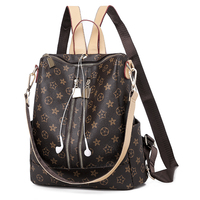2019 New Style Printed Pu Leather Women Backpack Girls Travel Dual Use Shoulder Bag waterproof back pack 7567