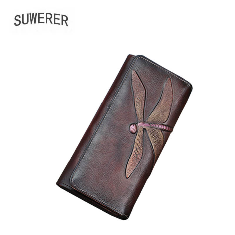 SUWERER 2019 New Genuine Leather bags real leather embossing luxury vintage clutch bag women bags designer women leather wallets