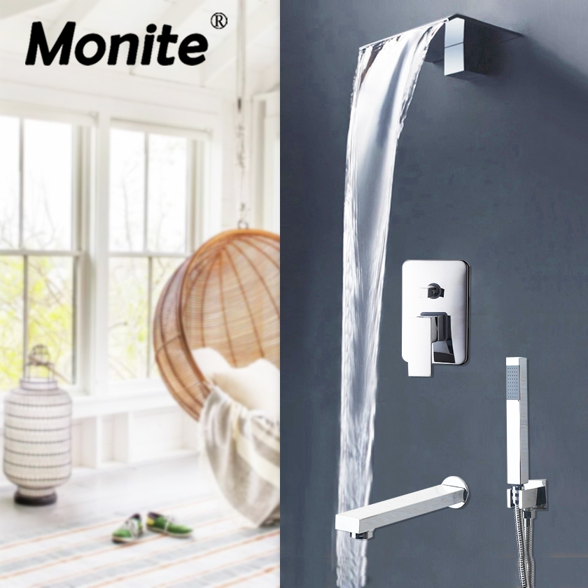 Monite Chrome Polish Soild Brass Waterfall Bathroom Shower Mixer Taps Bathtub Bath Water shower Faucet Mixer