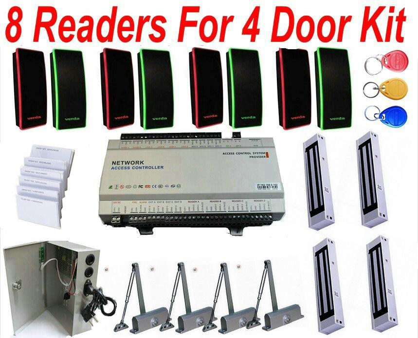 US $538 71 |4 Door Full Solution with 4 door Access Controller  panel+Electronic Magnetic locks+Door closer+ID Card reader+24 hours UPS  Power-in Access