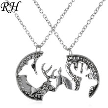 2d00badc52a6 Custom engraved boyfriend girlfriend deer head hunting southern love buck  doe his hers paired pendants couple necklace gift set