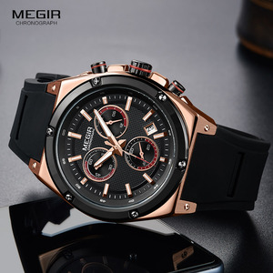 Image 4 - Megir Sports Silicone Chronograph Quartz Watches Army Casual Waterproof 24 hour Analogue Wristwatch for Man Black Rose 2073 1N0