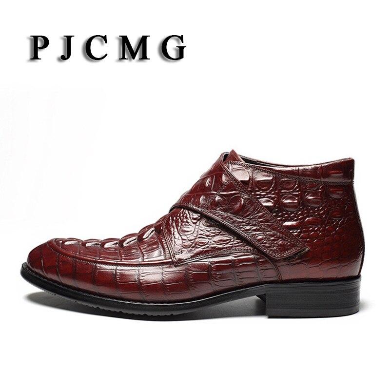 PJCMG Mode Krokodil Patroon Ademend Hoge Kwaliteit Lederen Laarzen Klittenband Puntschoen Oxford Enkellaarsjes Voor Mannen - 2