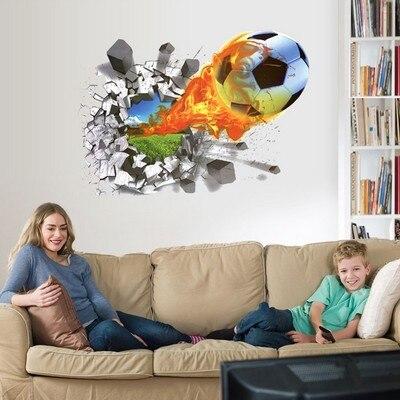 48*67 см 3D стены Книги по искусству Футбол огня через стены дома этикета Стикеры мальчиков детская комната украшения спортивные Настенный дек...