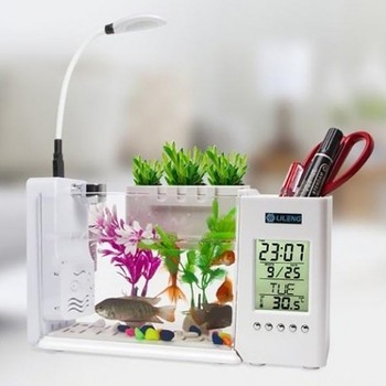 Aquarium Fish Tank USB Aquarium With LED Lamp Light LCD Display Screen And Clock Fish Tank Aquarium Fish Tanks Black/ White