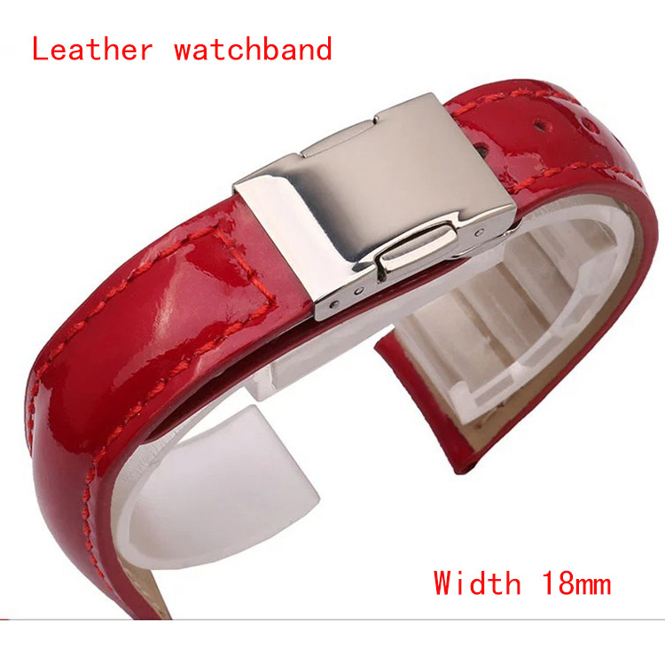 Watchbands Bright Cowhide Genuine Leather Watch Strap 18mm Lady Women Watches 5020 Bands Bracelet Folding buckle