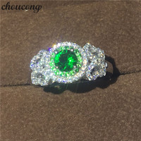 Choucong Jewelry 100 Genuine 925 Sterling Silver Ring 1ct Diamonique Green Cz Engagement Wedding Band Ring
