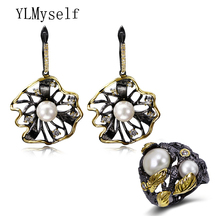 Todays Offers black earrings and ring brincos de festa crystal and white pearl Trendy jewelry for women Statement 2pcs sets