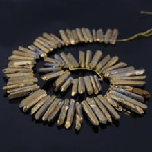 Approx68pcs/Strand Titanium Gold Rock Quartz Crystal Top Drilled Point Pendant Beads,Raw Crystal Tusk Graduated Necklace Jewelry