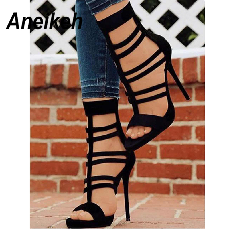 Aneikeh 2019 Concise Flock Ankle Boots Round Toe Women's Boots Zip Hollow Out Thin Heels Shallow Cover Heel Party Dress Black 40