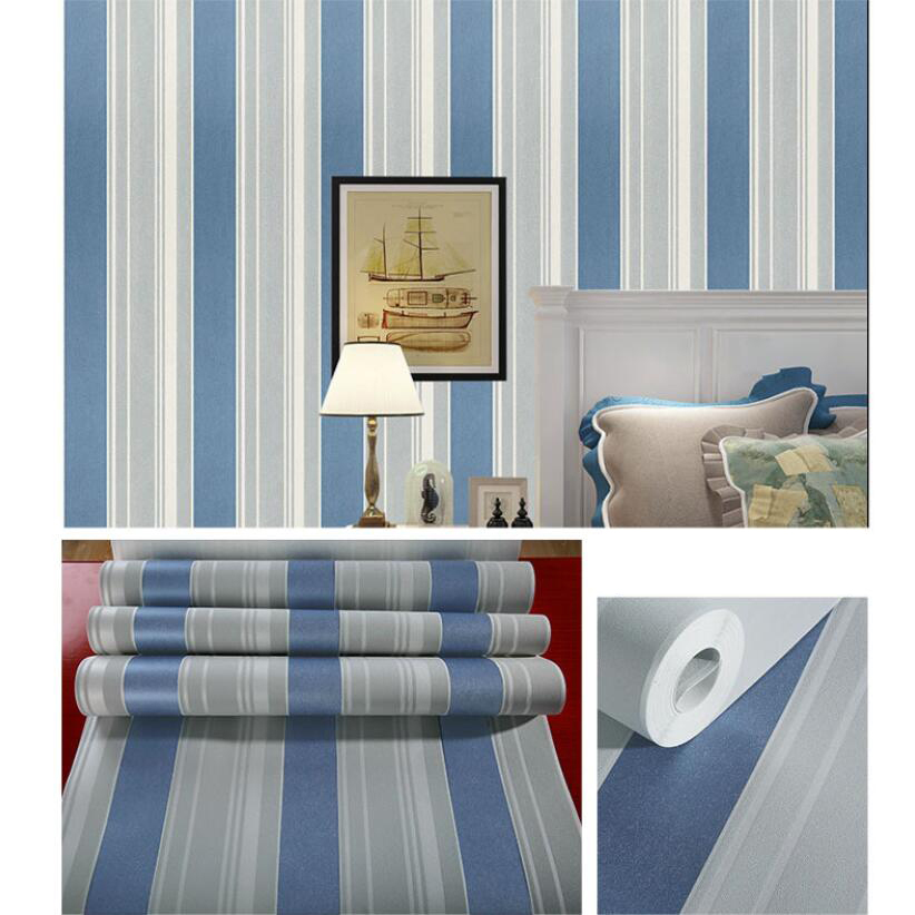 Modern Vertical Stripes Wallpaper Kids Rooms Decor Pink Blue Wallpapers Roll Home Decoration Mural Striped Wall Papers EZ129 vertical stripe wallpaper roll pink creamy beige blue strip wall paper non woven wallpapers 3d modern european wallpapers mural