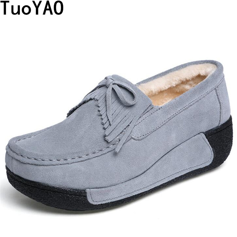Women Flats Platform Shoes Suede Leather Shoes Keep Warm Plush Fur Winter Shoes Moccasins Creepers Slipony Female Casual Loafers suede