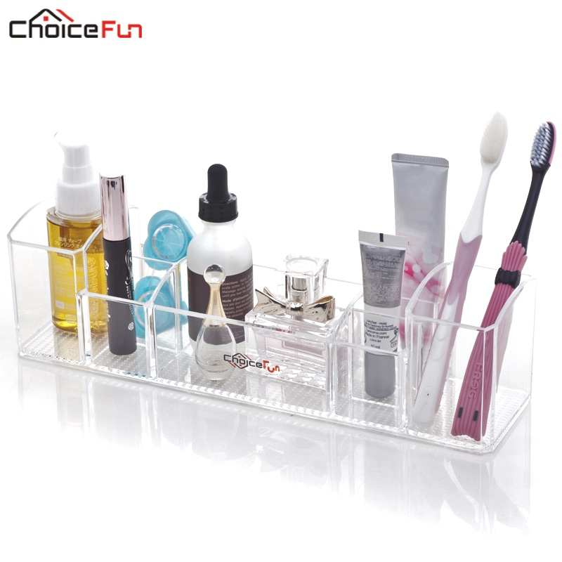 CHOICEFUN Multifunkční čirá akrylová čalouněná toaletní miska Zubní kartáčka a kosmetické ukládání Koupelnový organizér pro make-up